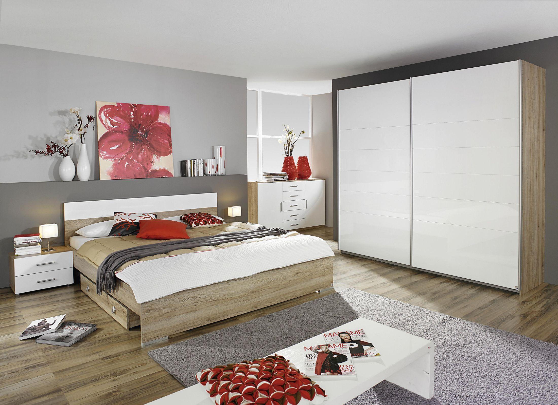 schlafzimmer set mit bett 160 x 200 cm eiche sanremo hell woody 33 01204 modern jetzt bestellen unter - Schlafzimmer Set Modern
