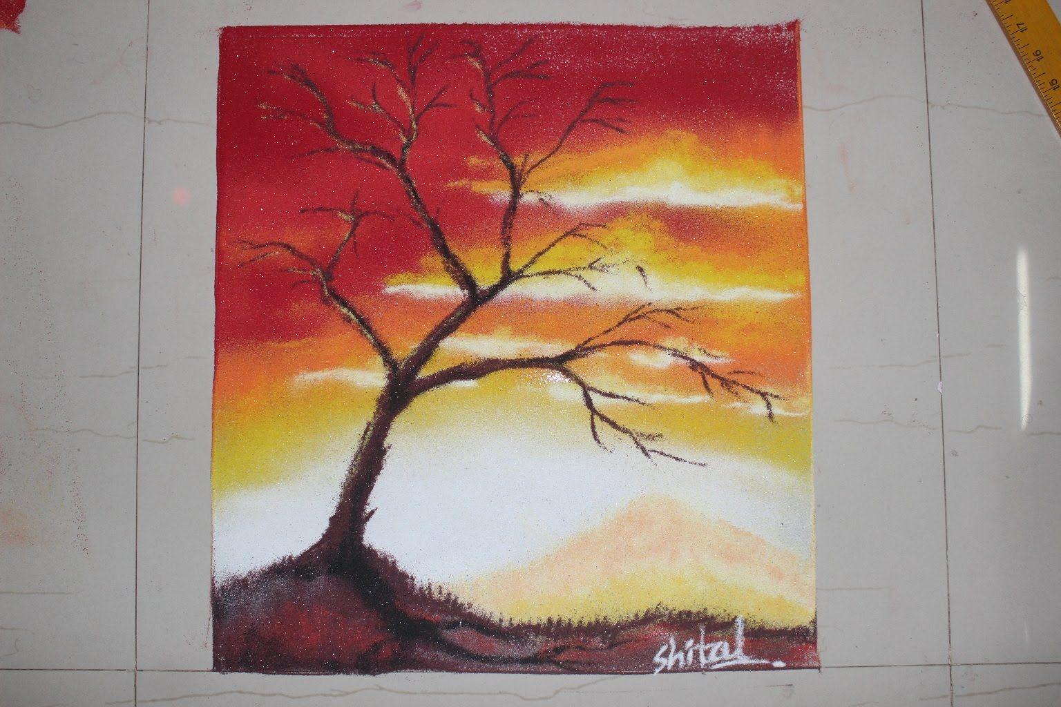 Sunset Scenery in Rangoli - Poster Rangoli designs | rangoli ... for poster rangoli designs for diwali  54lyp