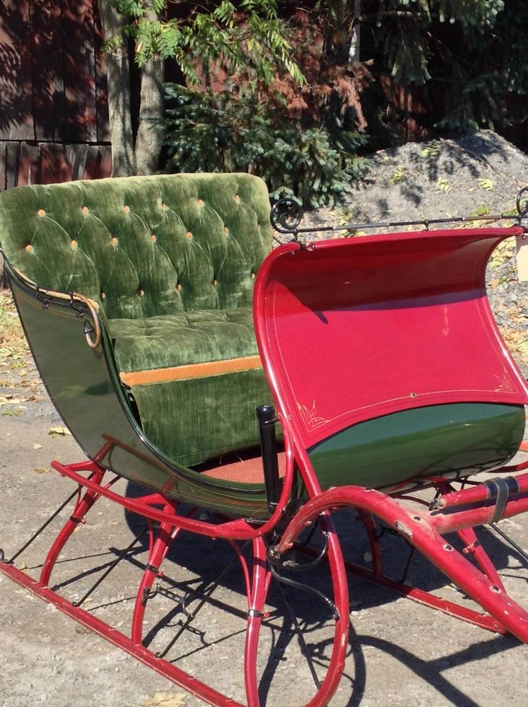 Antique Red Portland Cutter Horse Drawn Sleigh Holiday