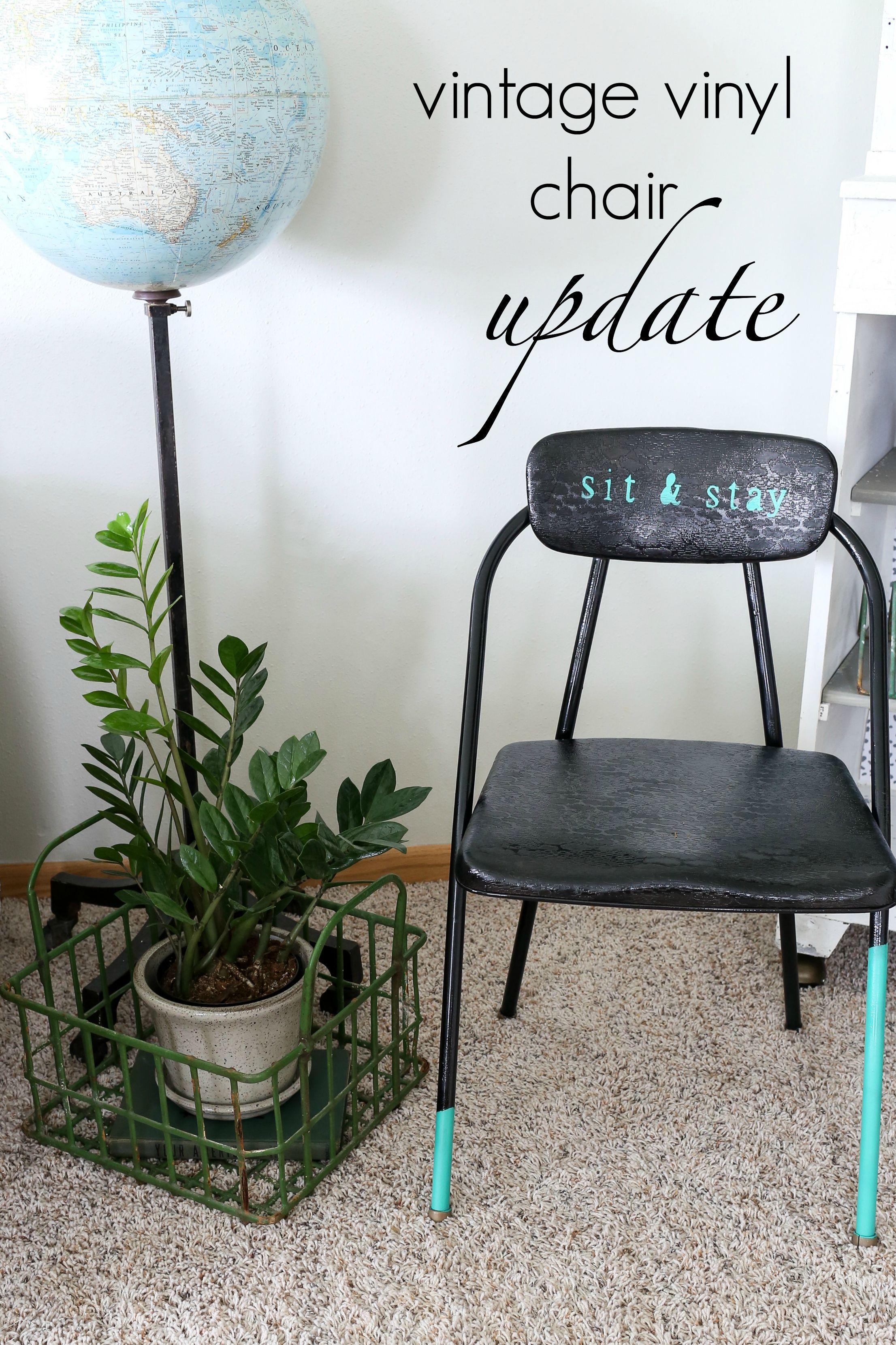 Take a vintage vinyl folding chair and update it with this quick