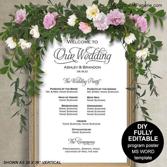 Wedding program sign template Wedding program posterWedding DIY - microsoft word sign template