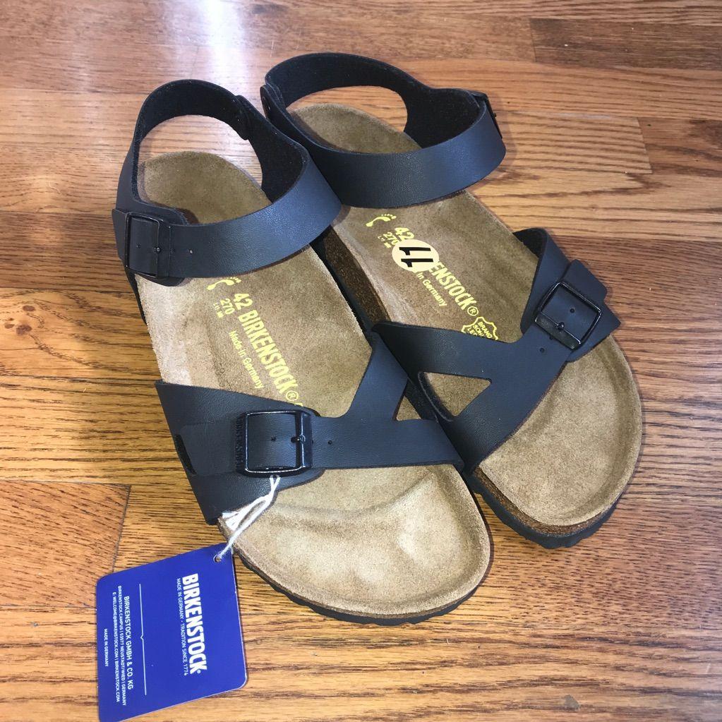 Birkenstock Shoes Birkenstock Rio Black Leather Cork Sandals 11 N Color Black Size 11 Cork Sandals Birkenstock Black Leather
