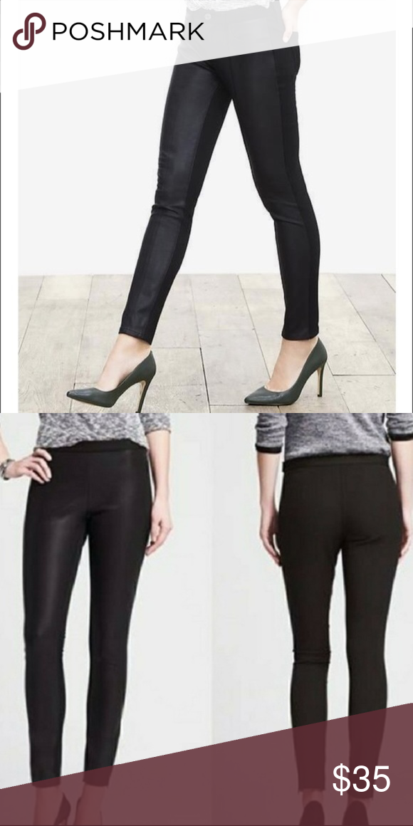 742059942f51a2 Banana Republic BR Sloan Pleather Skinny Pants Excellent condition. Nice  stretch, comfy pants. Faux leather front, fabric back. Zipper at the ankles.