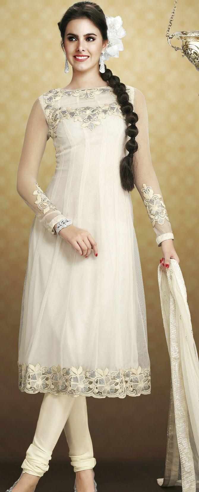 Stylish white dress wedding umbrella frocks churidar designs - Off White Net Churidar Kameez Online Shopping