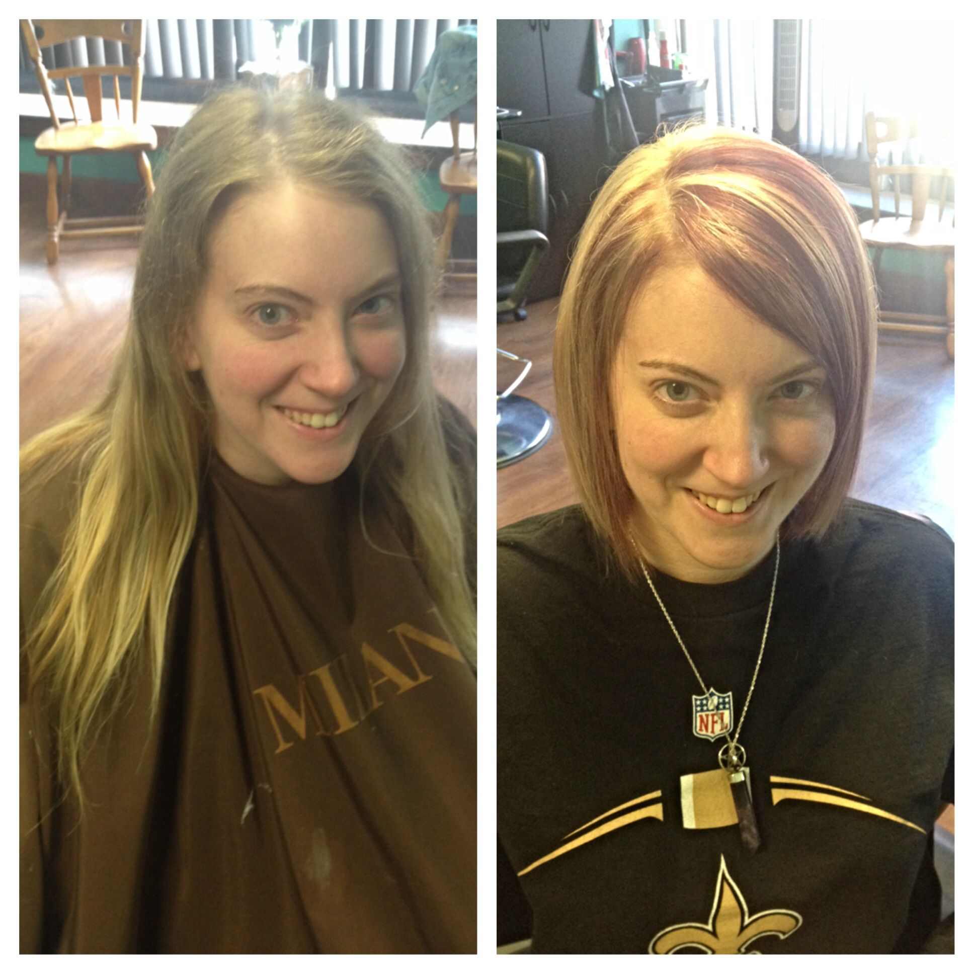 A beautiful transformation in length and color! An angled bob with red underneath and accenting her face with bright fresh blonde highlights on top. Color and cut by Janet Moffatt
