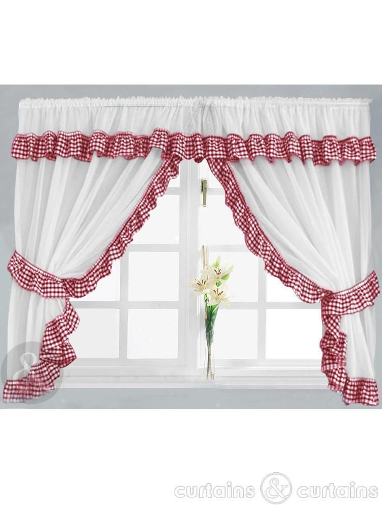 A Delightful Gingham Check Ready Made Kitchen Curtain Set Gingham Check Is Available In 7 Co Red Kitchen Curtains White Kitchen Curtains Red And White Kitchen