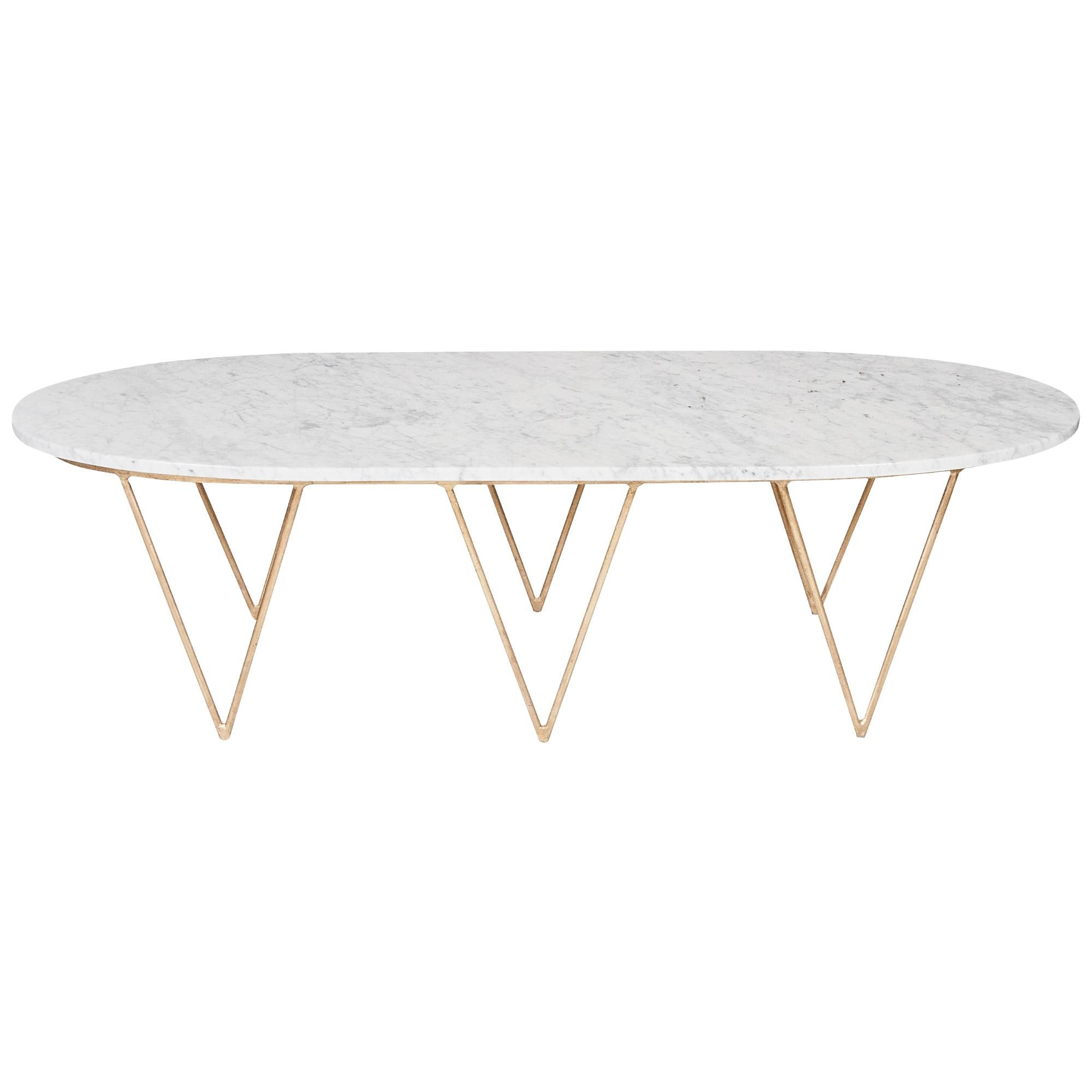 Surf Coffee Table With White Marble Top Gold Leaf Marble Top