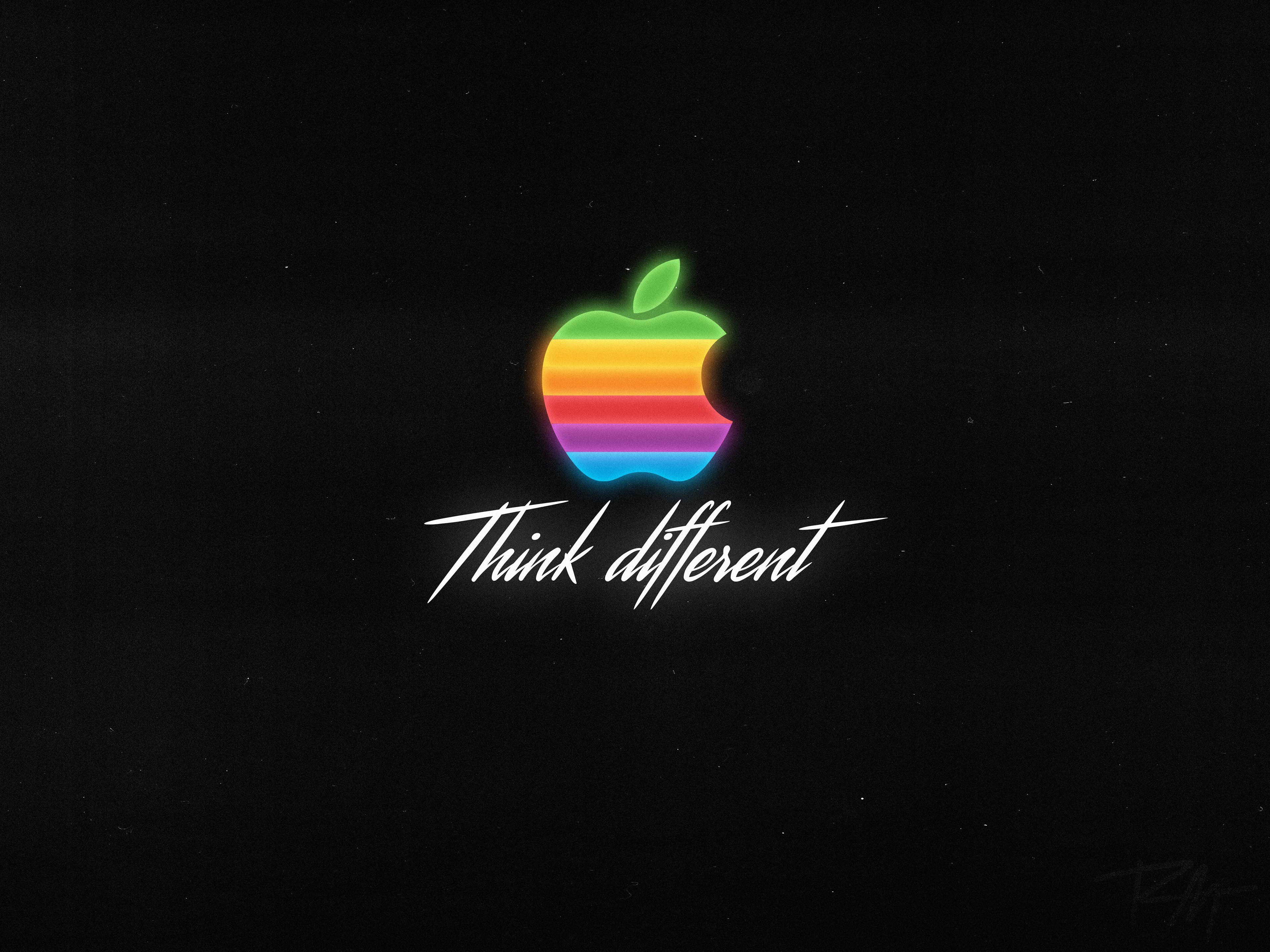 4k Apple Think Different Logo Dark Background 4k Wallpaper Hdwallpaper Desktop Dark Backgrounds Apple Sketch Dark Background Wallpaper