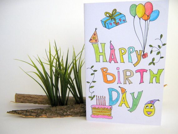 Happy Birthday Handmade Gift Card For Kids By Exiartsconceptworlds