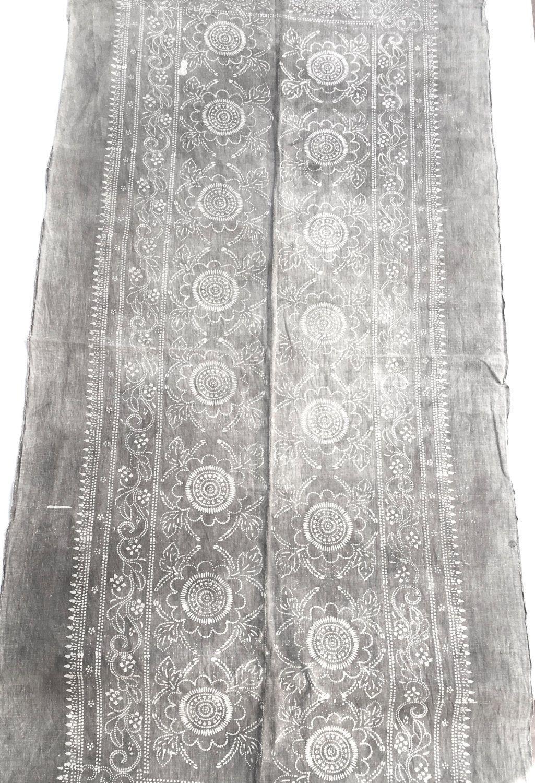 Vintage Indigo Batik Fabric Faded Grey Color Cottonhemp