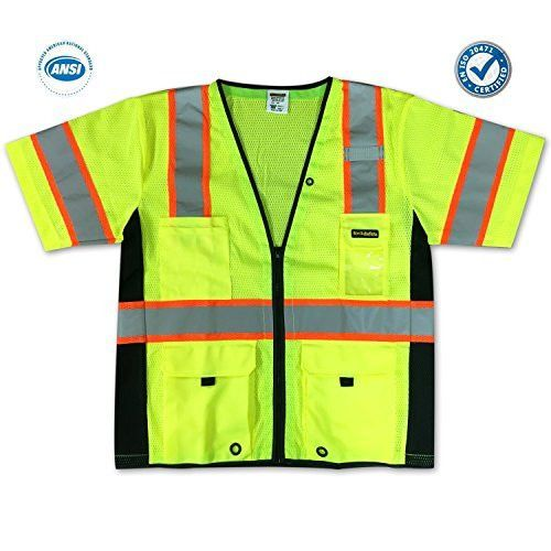 KwikSafety Class 3 High Visibility Executive Deluxe Safari Reflective ANSI Safety Vest With Black Trims And