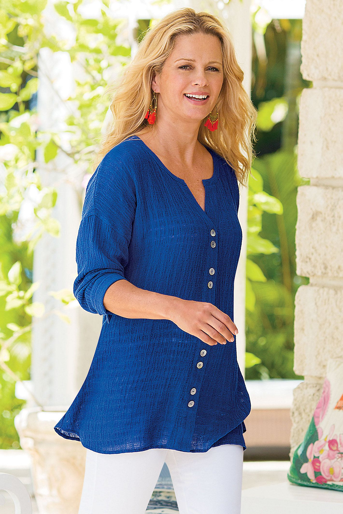 502b9dedeaf0 Lustrous pearly buttons give our Crinkled Gauze Shirt a polished look -  perfect for summer dressing!