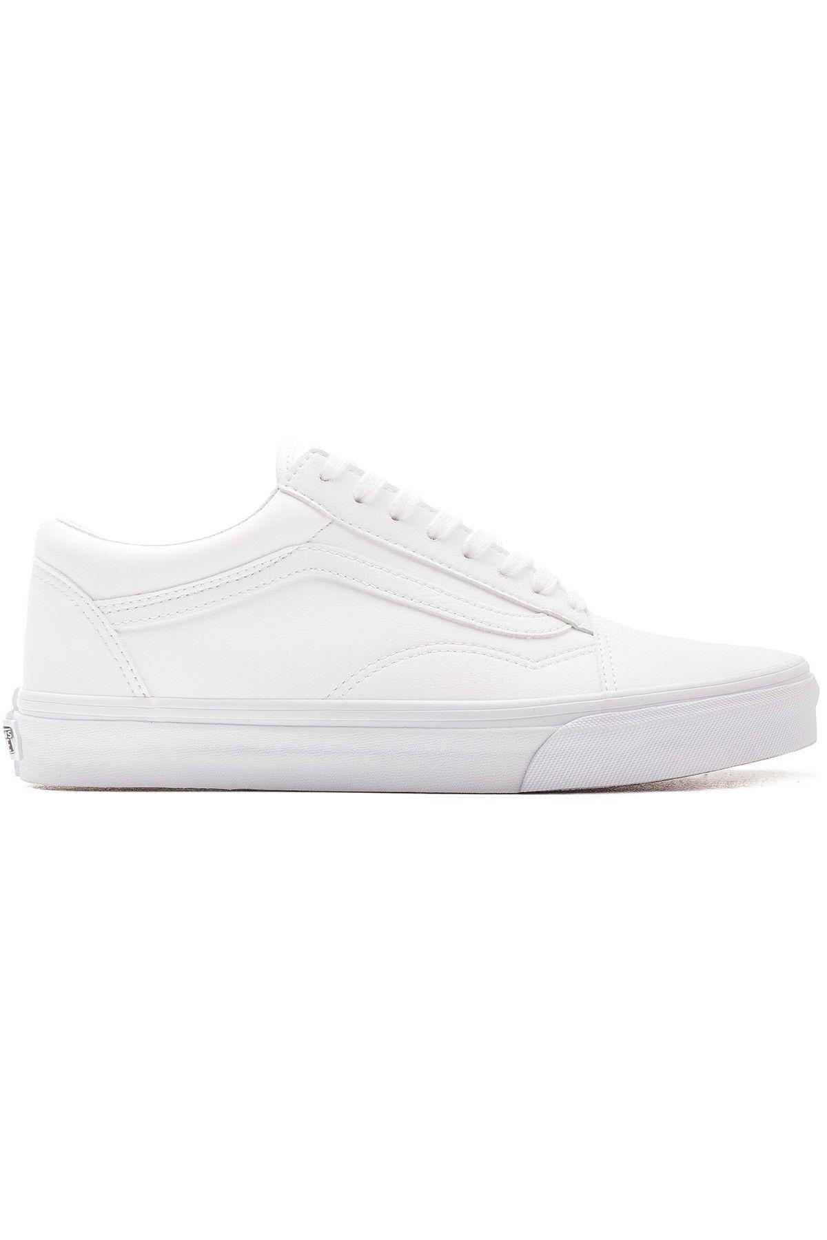 tumbled leather vans white
