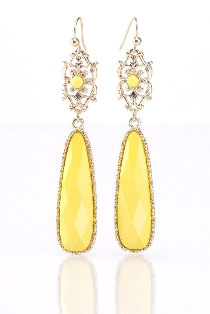 Yellow Tear Drop Earrings