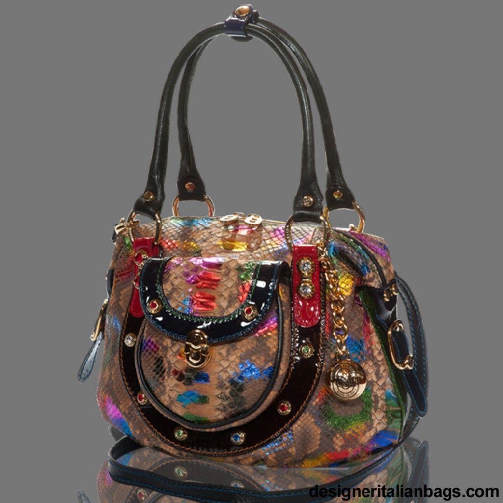 Marino Orlandi Italian Designer Rainbow Python Leather