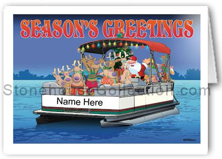 Party Boat Name Christmas Card