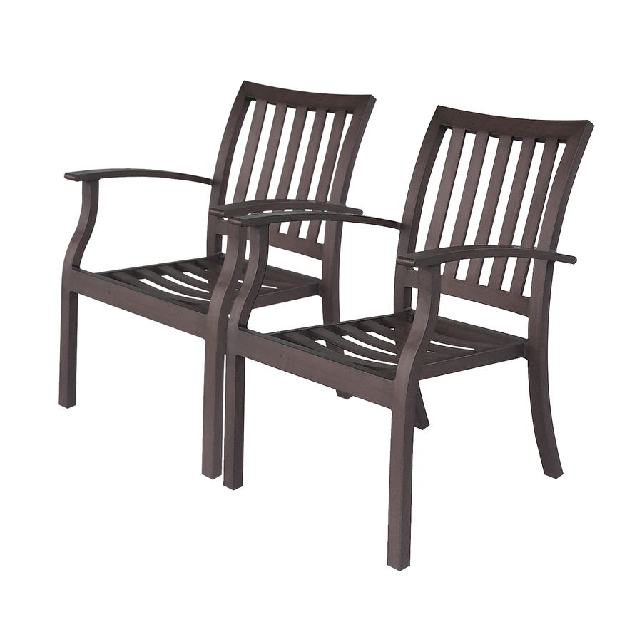 Shop Allen Roth Gatewood 2 Count Brown Aluminum Dining Chairs At Lowes Com Patio Dining Chairs Outdoor Dining Chairs Lowes Patio Furniture