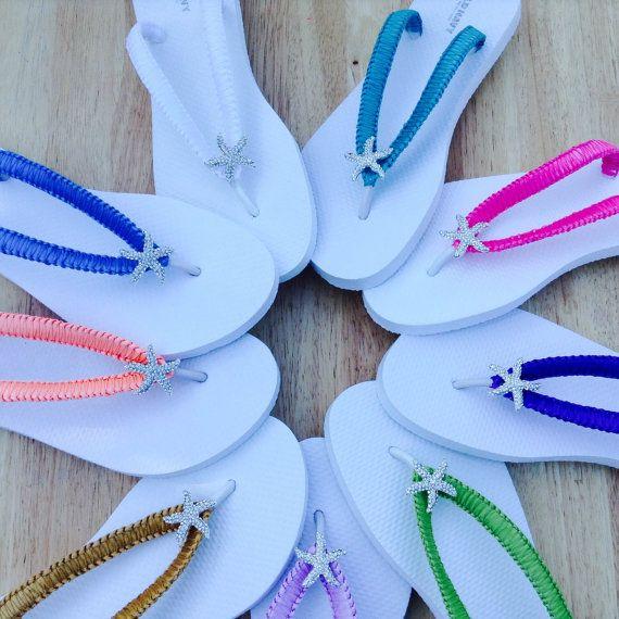 Coral Starfish Bridal Flip Flops White Wedding By KayKaysBridal