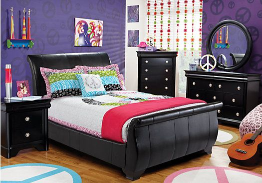 Shop For A Miranda Black 5 Pc Full Bedroom At Rooms To Go