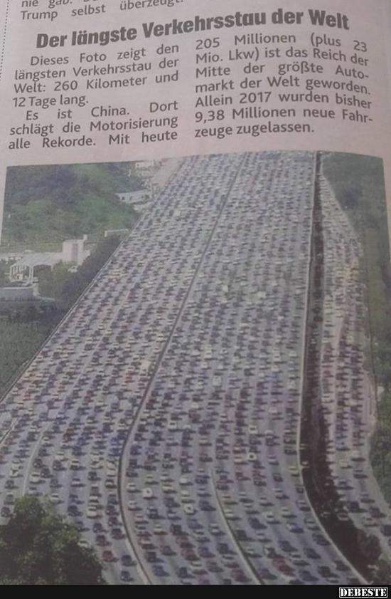 Der Langste Verkehrsstau Der Welt Lustige Bilder Spruche