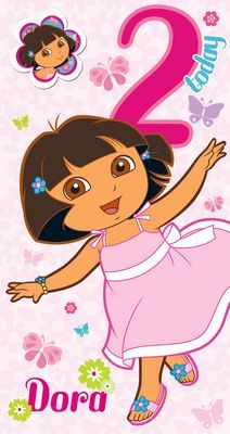 Age 2 Dora The Explorer Birthday Card With Badge Dora The Explorer Birthday Cards Second Birthday Ideas
