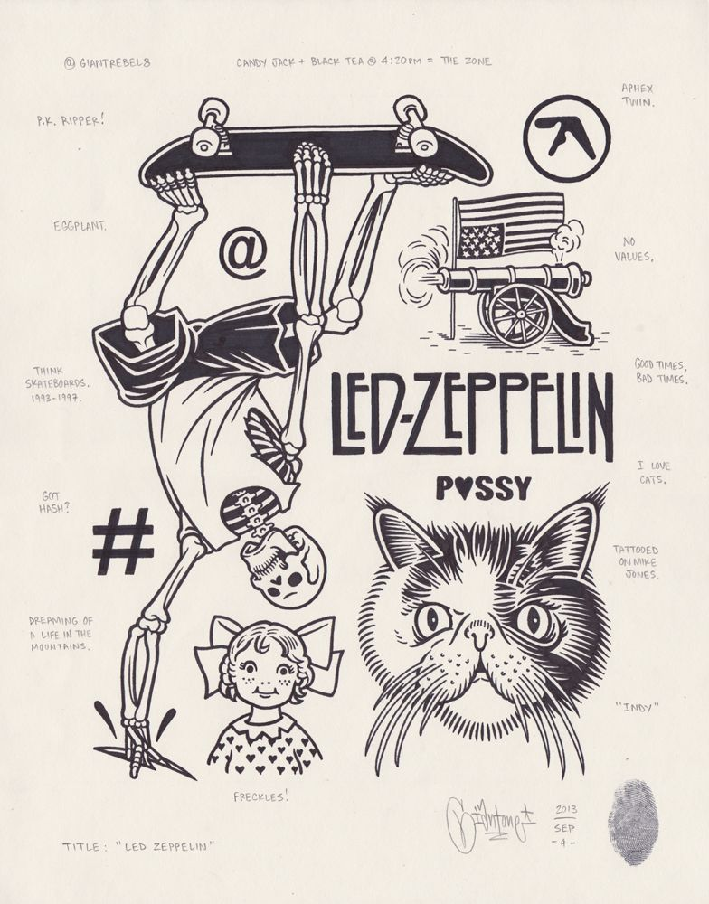 Originalgiantcontent Led Zeppelin By Mike Giant 2013 Mike Giant Sketch Book Flash Tattoo
