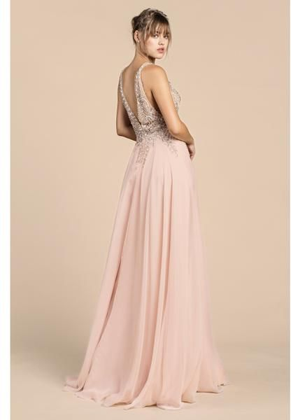 1090227f6d2e Dance the night away Flowy chiffon blush gown long Prom Evening Wedding  Dress
