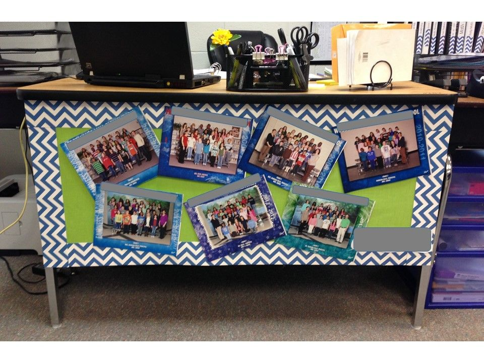 Teacher Desk Decoration This Is A Cute Way To Display Your Past Classes Students Love Looking At The Pi Classroom Decor Teacher Desk Decorations Teacher Desk