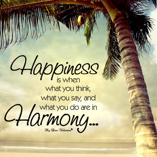 Happiness Is When What You Think What You Say And What You Do Are
