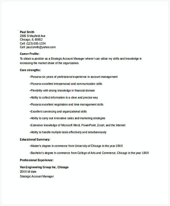 Strategic Account Manager Resume , Resume for Manager Position ...