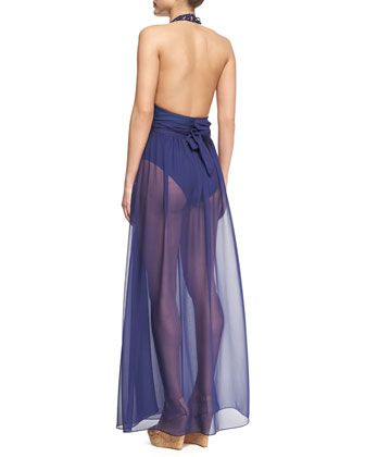 Meskita Cutout Halter One-Piece & Schyna Sheer Pleated Coverup Skirt