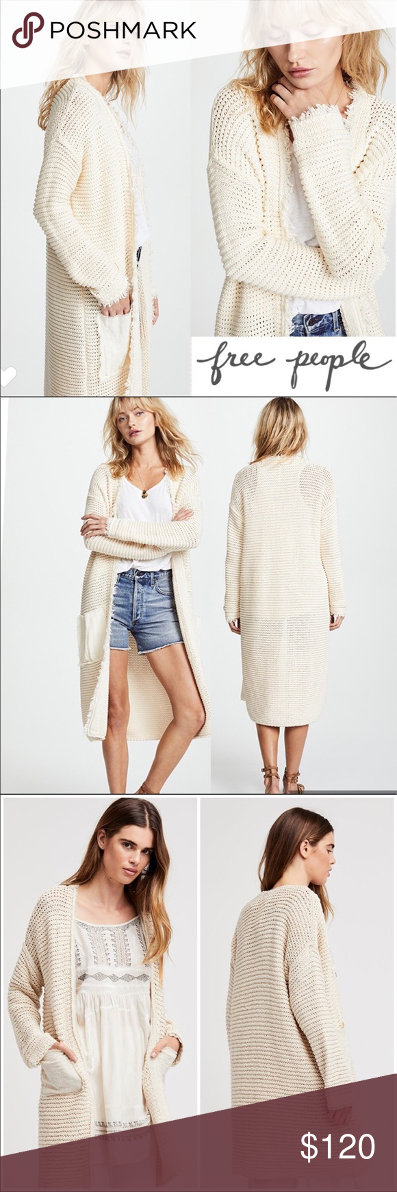 FREE PEOPLE Woodstock Cream Duster Gorgeous raw hem cream long duster  that s new with tags! 100% Cotton Make me an offer 🌷 A1 Free People  Sweaters ... 2f5ee3f3b