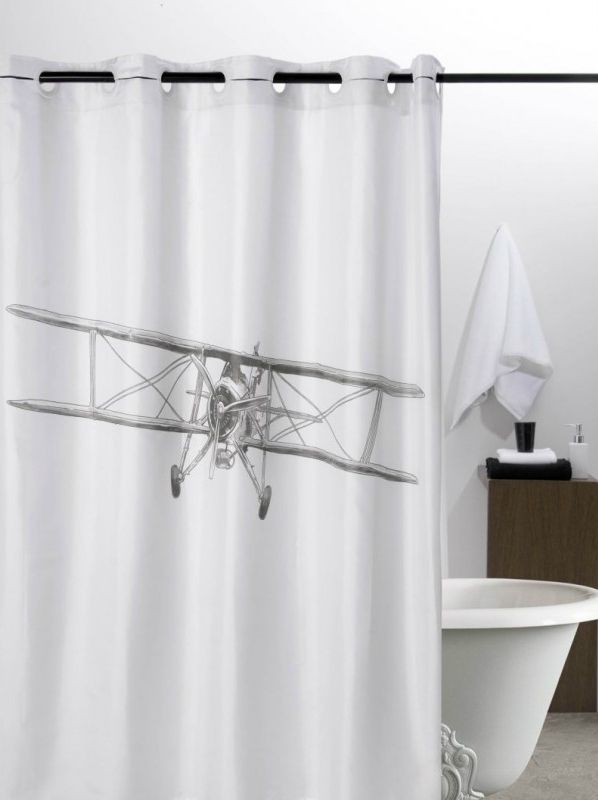 Shower Curtain Vintage Airplane Black And White