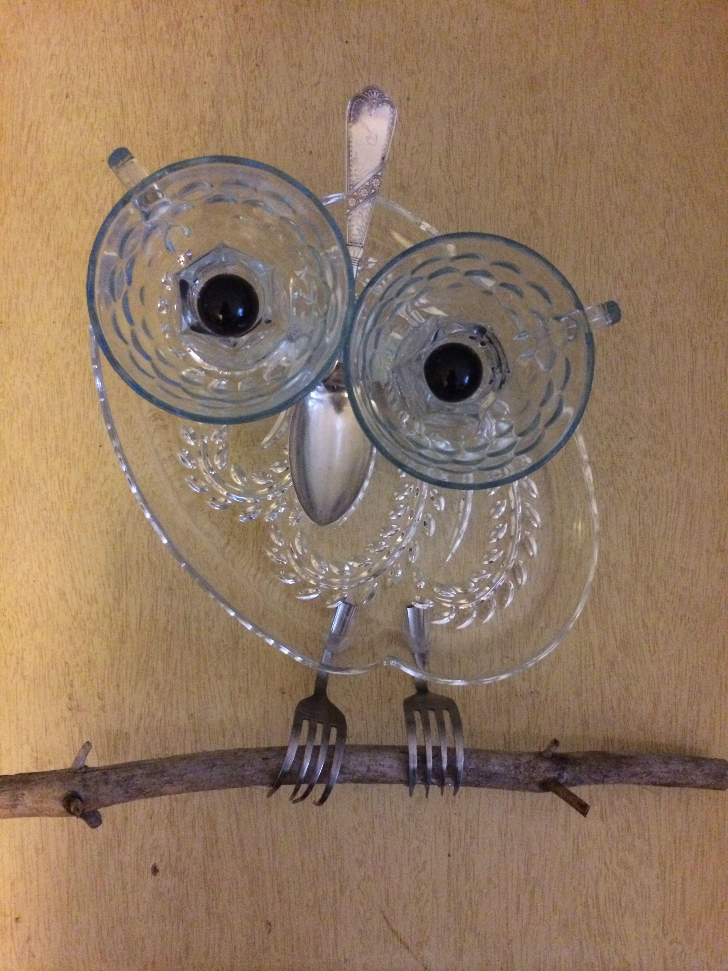 Available - Owl garden art/suncatcher by tambrey the Repurposer - 165