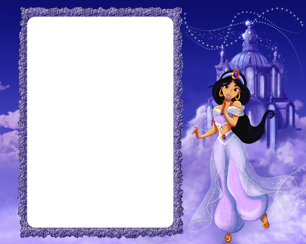 Princess Jasmine in Clouds Kids PNG Frame | Disney ...