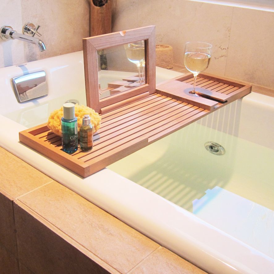 I love the wine glass holder and the mirror bookstand for Bathroom tray ideas