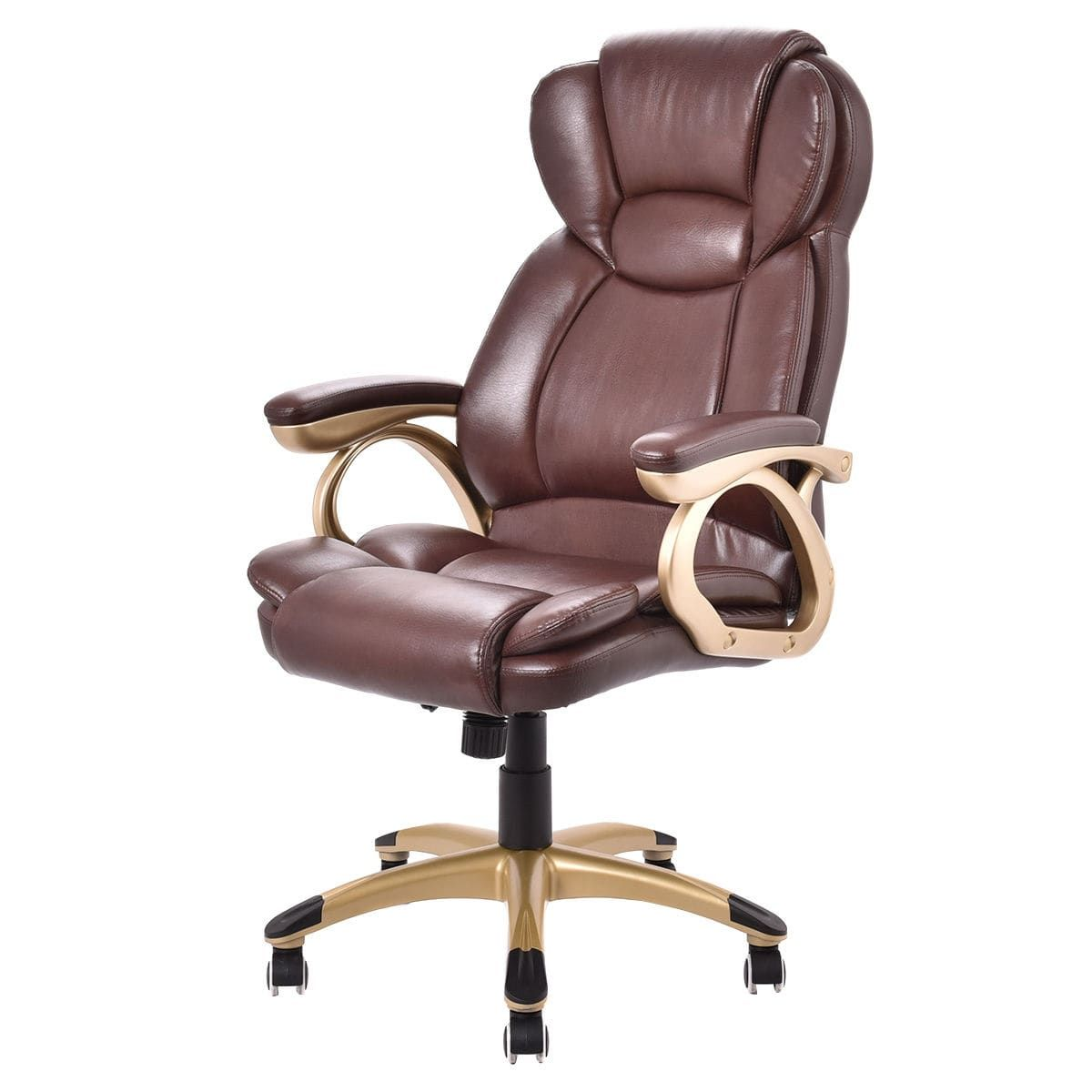 costway ergonomic office chair pu leather high back executive