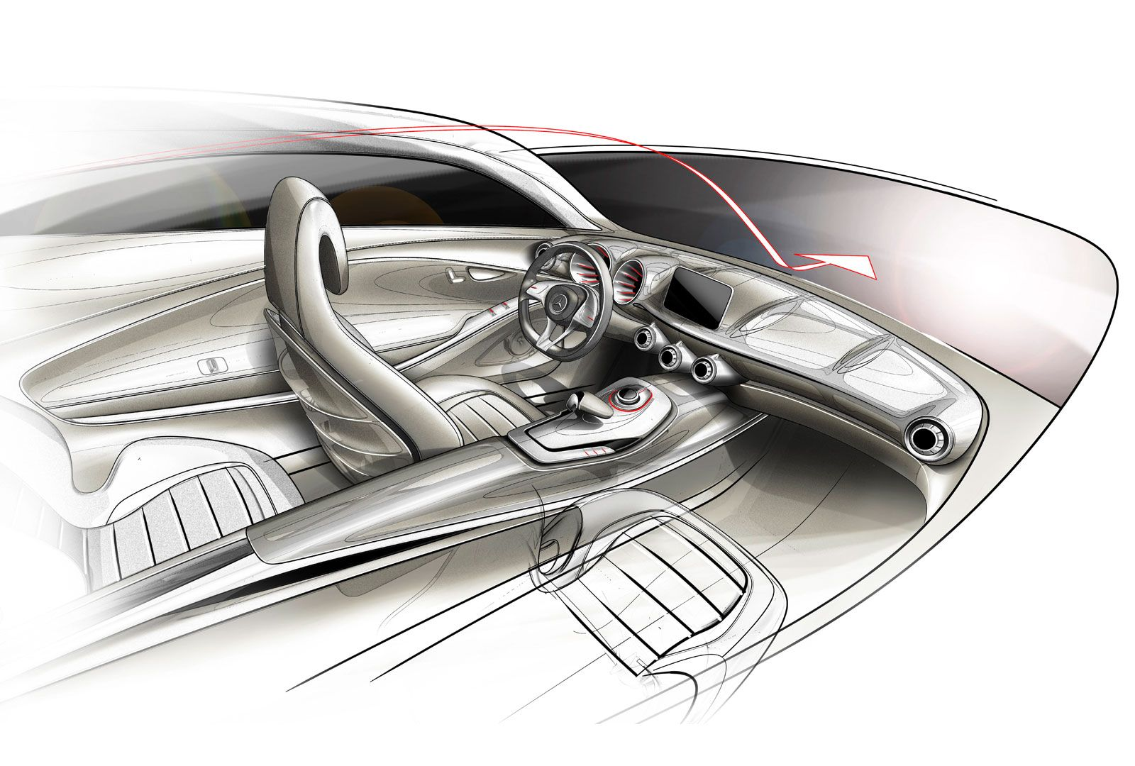 Mercedes Benz Concept A Class Interior Design Sketch 画像あり