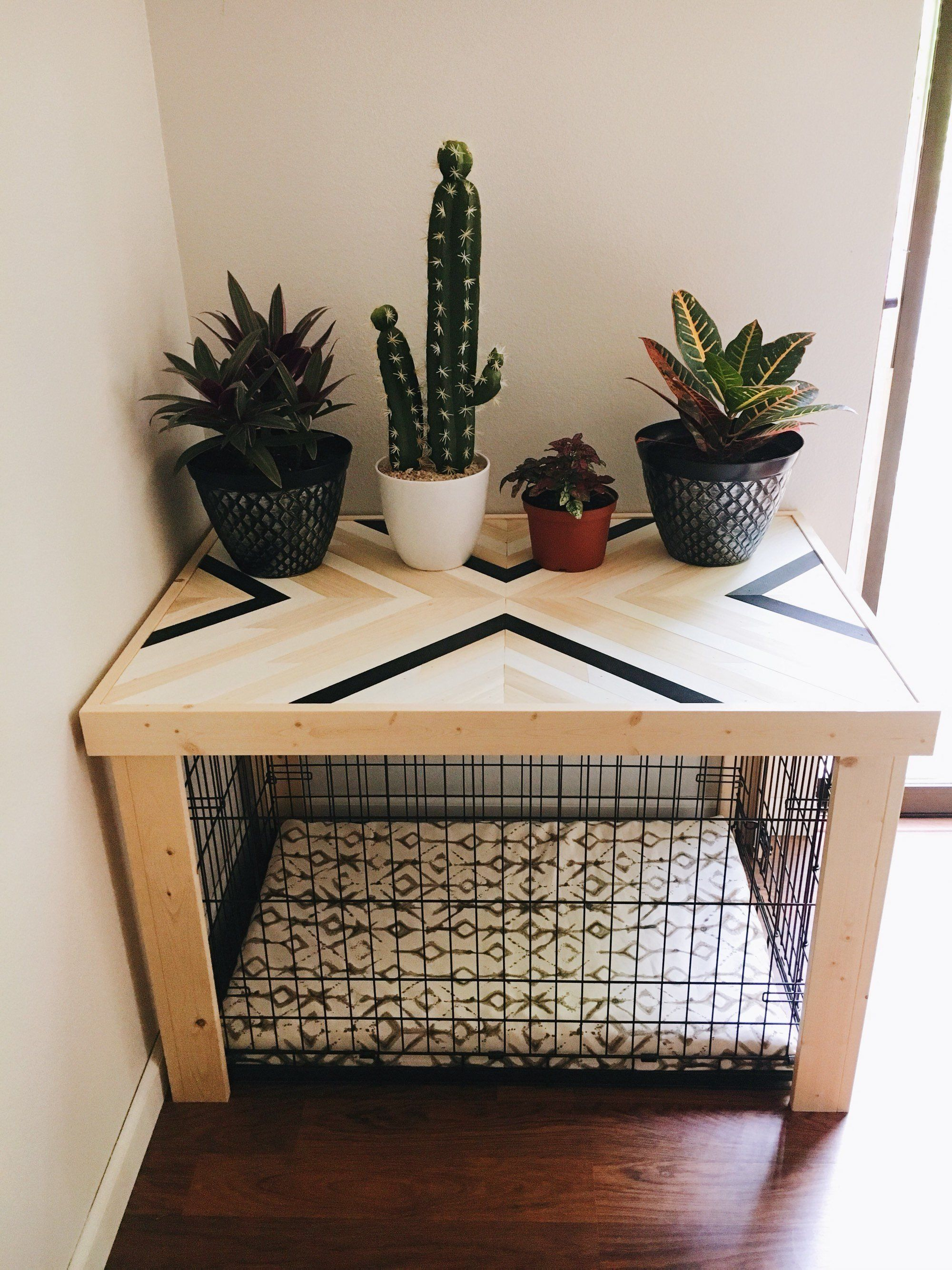 """36"""" Crate Table -Wood Chevron Art Kennel Cover - modify your basic wire dog crate - LARGE 36"""" length - bed, blanket, curtain sold separately"""