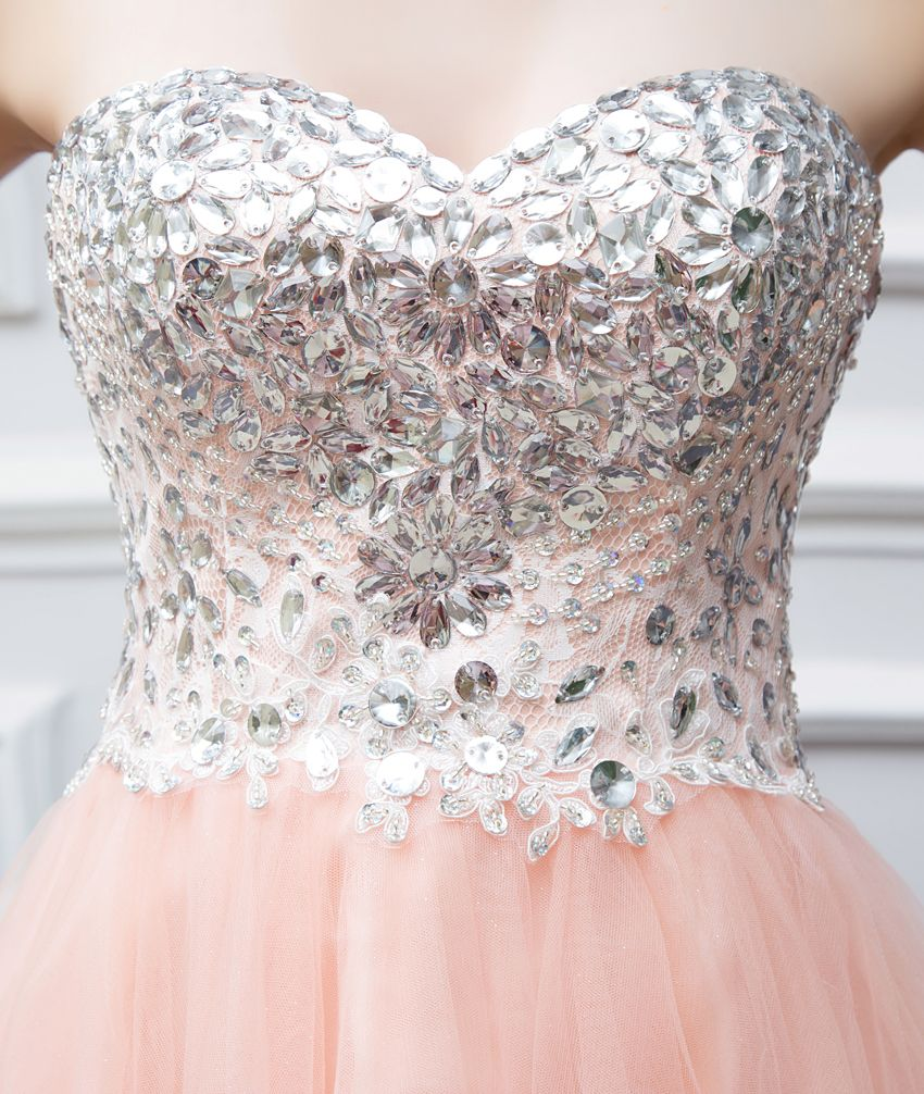 Sweetheart tulle beaded short coralpeach prom dress uniqistic