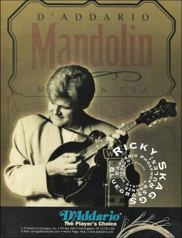 Ricky Skaggs D Addario Mandolin Guitar Strings Advertisement 8 X 11 Ad Print Daddario Mandolin Guitar Strings D Addario