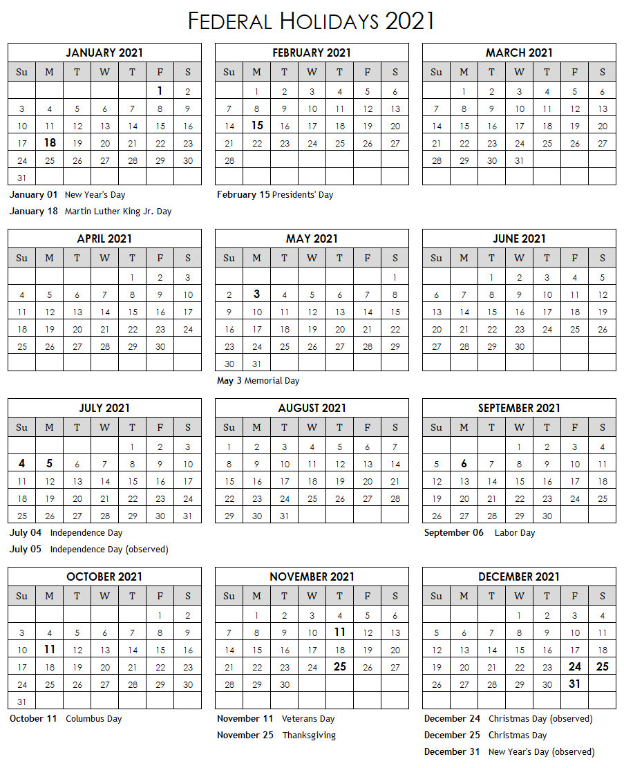 Blank and White Federal Holidays 2021 Calendar. United ...