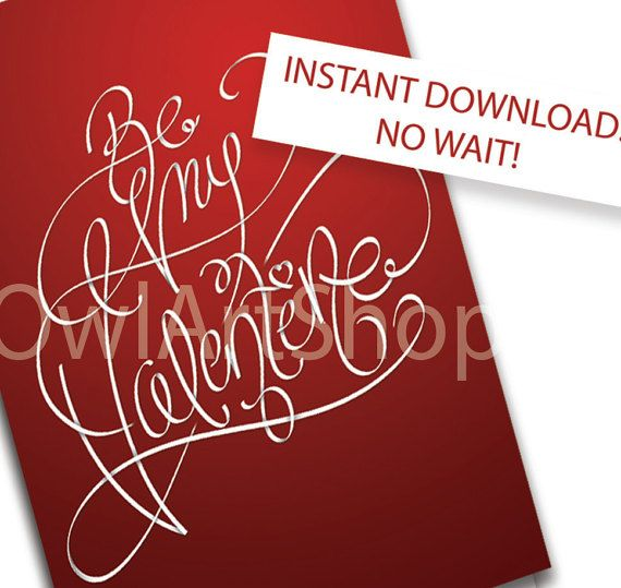 be my valentine printable romantic valentines day card red creative typography unique card digital last minute gift idealetter a4 romantic cards