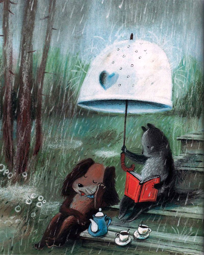 Шефа днем, открытки доброе утро дождливое