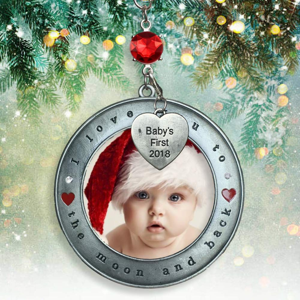 Banberry Designs Babys First Christmas 2018 Picture Ornament I Love You To The Moon And Back Picture Ornaments Diy Christmas Ornaments Babies First Christmas