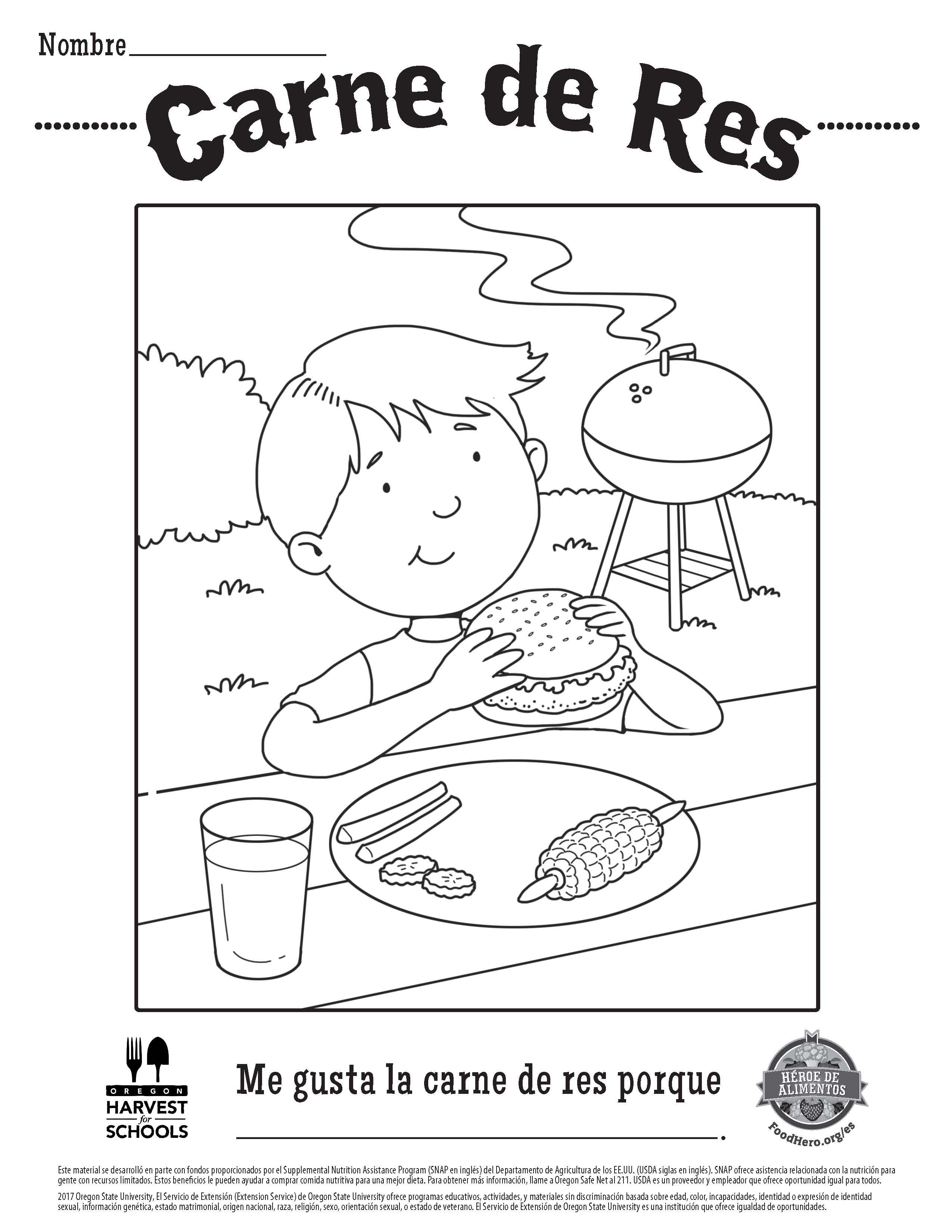 Food Hero Free Printable Coloring Sheet in Spanish about Beef