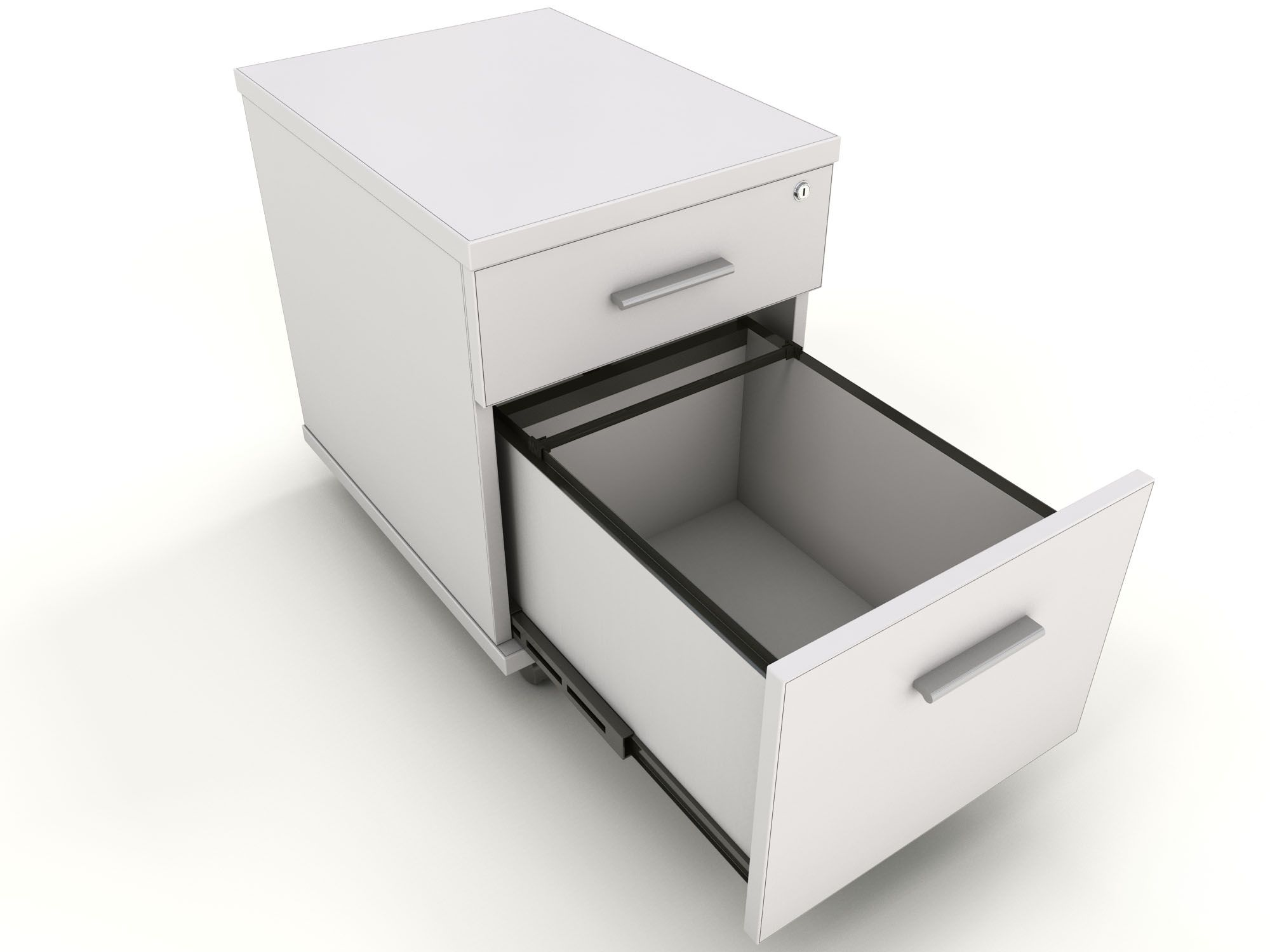 550mm (H) x 400mm (W) x 520mm (D) White 2-Drawer Under Desk Mobile Pedestal - £89. Designed to fit under cable trays. 4-sided drawer box construction for extra strength.
