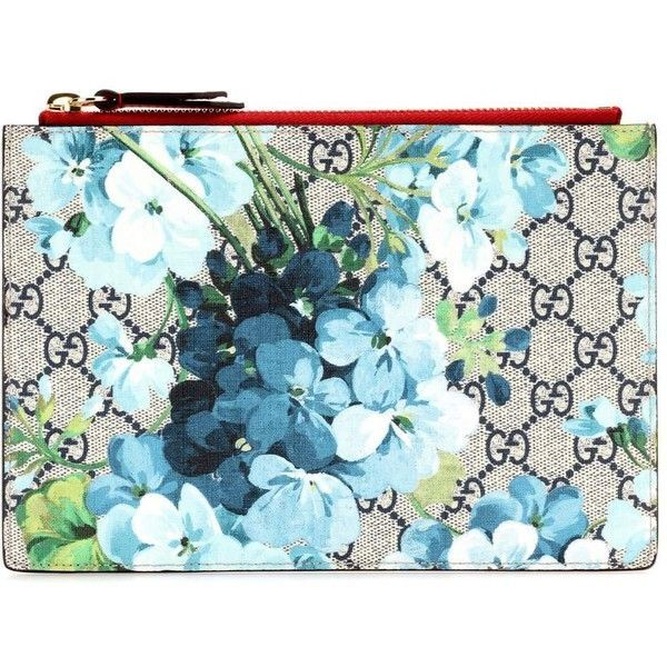 f81ceeb82cb0b Gucci Blooms GG Supreme Printed Canvas and Leather Pouch (1.535 RON) ❤  liked on Polyvore featuring bags