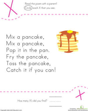 Find The Letter X Mix A Pancake Worksheet Education Com Nursery Rhymes Activities Nursery Rhymes Preschool Kindergarten Poems