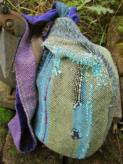 Wiesensalat: Japanischer Knotenbeutel aus Saori gewebtem Stoff
